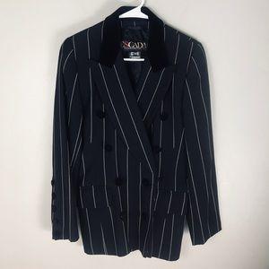Escada Black white pinstripe wool blazer EURO 36